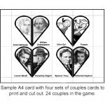 Sample Famous Couples Card Game cards