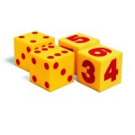 light foam dice with dots and with numerals