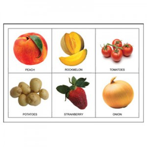 fruit and vegetable picture bingo player card example