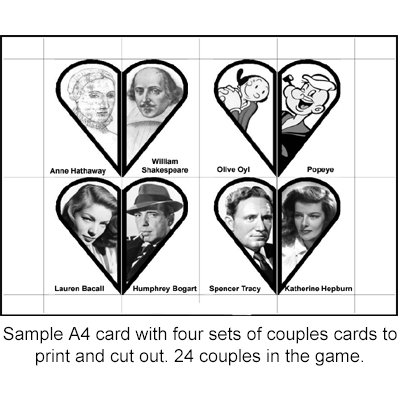 photograph regarding Printable Games for Couples identify Popular Partners Card Match Matching Video game Printable