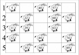 Horse Racing Themed Bingo Card Sample
