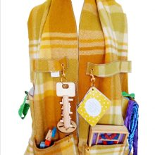 Activity Scarf-e in Upcycled Wool in mustard colour