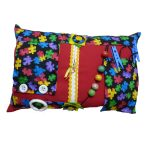 Fiddle Cushion - Red with jigsaw pieces