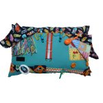 Fiddle Cushion - Green with feathers print