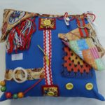 Blue Square Cushion with Cowboy themed print