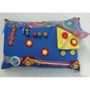 Blue Rectangular Cushion with abstract print