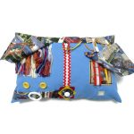 Blue Rectangular Fiddle Cushion with Postcards Print