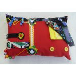 Rectangular Fiddle Cushion - red with pooltable print