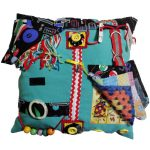 Fiddle Cushion - Square Cushion - green with snooker themed print