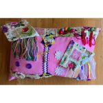 Rectangle cushion pink with stamps print