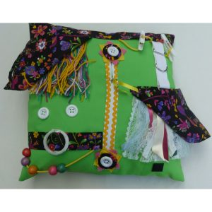 Lime square fiddle cushion with birds n bees print