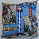Pale Blue Square Cushion with postcards print