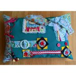 Rectangle Cushion green with floral print