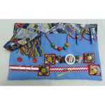 Slip Resistant Fiddle Mat - light blue with postcards print