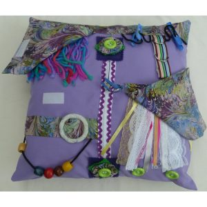 Lilac square fiddle cushion with abstract print