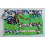 Slip Resistant Fiddle Mat - lime green with cats print