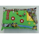 Rectangular Fiddle Cushion - lime with horses print