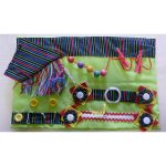 Fiddle mat - lime green with multistripe print