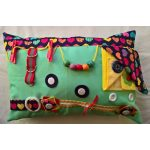 Rectangular Fiddle Cushion - mint green with hearts print