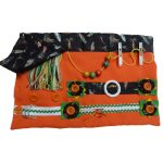 Slip Resistant Fiddle Mat #15 - orange with fishing lures print