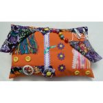 Orange rectangle cushion with paisley floral print