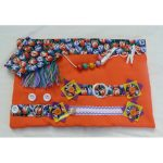 Fiddle mat - orange with tulips print