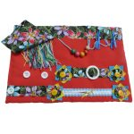Slip Resistant Fiddle Mat #12 - red with floral print