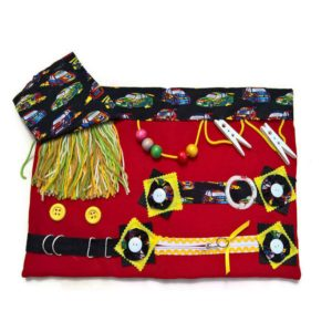Slip Resistant Activity Mat - red with cars print