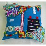 Square cushion - aqua with floral print