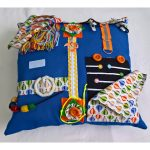 Square fiddle cushion - blue with balloons print