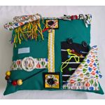 Square fiddle cushion - green with balloons print