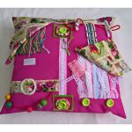 Square cushion - pink with stamps print