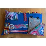 Rectangle Cushion blue with multicoloured print