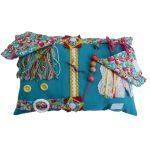 Fiddle Cushion - Rectangular Cushion - aqua with tulips print