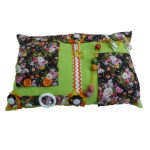 Fiddle Cushion - Lime Green cushion with flowers