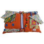 Fiddle Cushion - Rectangular Cushion - orange with hot air ballooons print