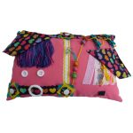 Fiddle Cushion - Rectangular - pink with hearts print