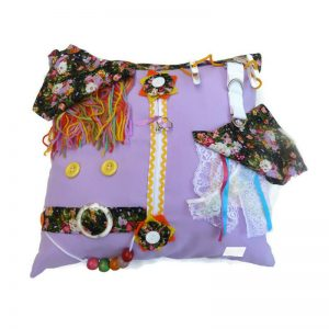Fiddle Cushion - lilac with flowers print