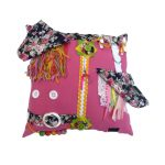 Fiddle Cushion - Square Cushion - pink with flowers print