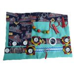 Fiddle Mat - Sea green with trains print