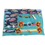 Fiddle Mat - green with cars print