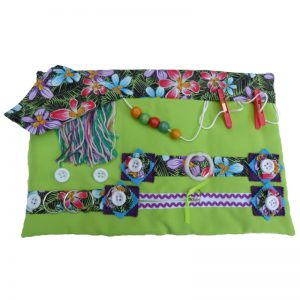 Fiddle Mat - Lime green with orchids print