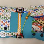 Fiddle Cushion Green with Hot Air Balloons