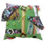 Fiddle Cushion Lime with Orchids Print