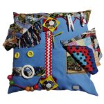 Fiddle Cushion pale blue with postcards print
