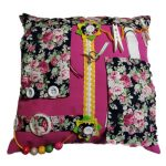 Fiddle Cushion pink with roses
