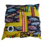 Yellow fiddle cushion square with cars print